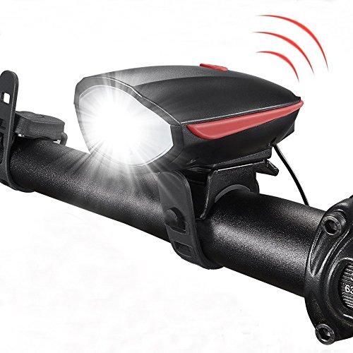 YZCX LED Fahrradbeleuchtung Set USB Wiederaufladbare LED Frontlicht Fahrradscheinwerfer Wasserdicht Fahrradlicht Fahrradlampe Set 3 Licht-Modi mit Fahrradklingel 120 dB Für Radfahren