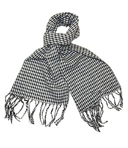 Herren Schal Tuch Halstuch mit Fransen weich und warm Strickschal Feinstrick versch. Farben Schwarz Hahnentritt business SH06 (Schwarz-Weiß) (Streifen Hahnentritt-roten)