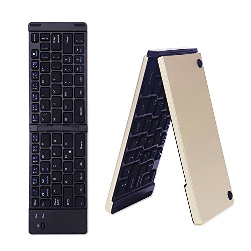 Preisvergleich Produktbild KISSION Bluetooth Faltreifen Tastatur für Windows Surface pro,  Android Tablet und Smartphone-Aluminium Design (Gold)