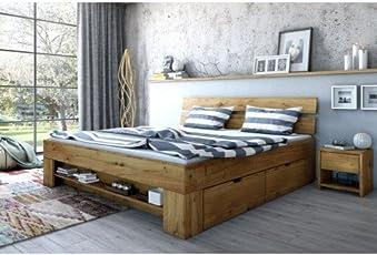 Massivmoebelversand Futonbett 180x200 Wildeiche Massiv geölt Incl. Kopfteil und 4 Bettkästen