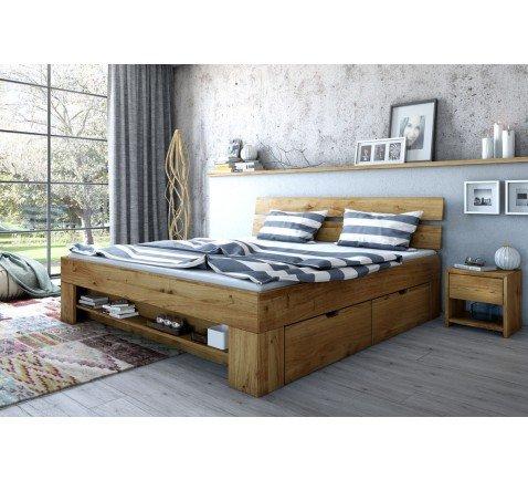 Futonbett 180x200 Wildeiche massiv geölt incl. Kopfteil und 4 Bettkästen