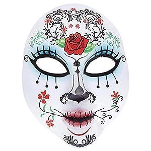 WIDMANN 05707Máscara Dia de los Muertos Media Cara De Plástico para Adultos, Color Blanco
