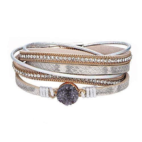 LILIGOD Männer Damen Vintage Braided Armband Einfache Lederarmband Multilayer Bracelet Mode Wild Armband Schmuck Festival Geschenk Freundin Freund Geburtstagsgeschenk Paar Armband
