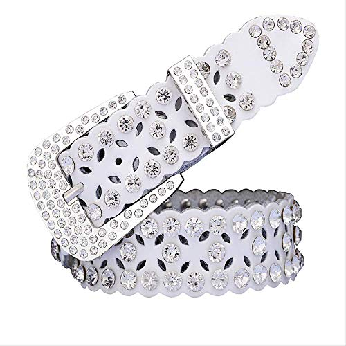 GNCBE Fashion Rhinestone Leather Belts For Women Luxury Pin Buckle Woman Belt Waist Strap For Jeans Female 95Cm White A