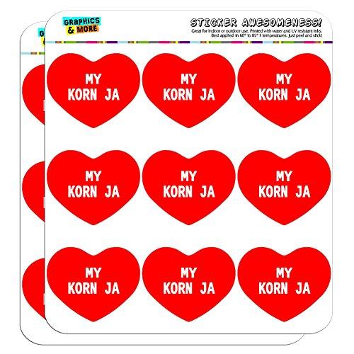 5cm (5,1cm) Scrapbooking, Aufkleber I love heart my g-l My Korn Ja