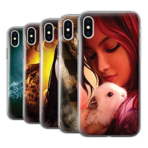 Offiziell Elena Dudina Hülle / Gel TPU Case für Apple iPhone X/10 / Kleopatra/Golden Schlange Muster / Die Tiere Kollektion Pack 16pcs