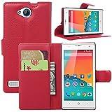 Guran® Funda de Cuero Para ZTE Blade G LuX Smartphone Tirón de la Cubierta de la Función de Ranura Tarjetas y Efectivo Caso - Rojo