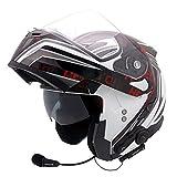 GSDZN - Motorradhelm Motorrad Helme Integralhelme Jethelme Externe Transparente Linse Und Klappbarem Sonnenblende Anti-Nebel Klare Sicht,B1(Bluetooth)-XL
