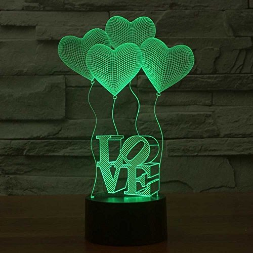 LED Nachtlicht,KINGCOO Magical 3D Visualisierung Amazing Optische Täuschung Touch Control Light 7 Farben ändern Schreibtischlampen für Kinderzimmer Home Decoration Best Geschenk (Love) - 2