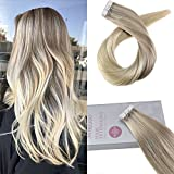 Moresoo 100% Pelo Humano Tape In Extensiones Ombre #18 Fading to #22 and #60 Blonde Pelo...