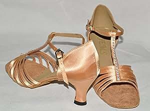 Écoles de danse pour chaussures Brun satiné Couleur chair Taille 6 t diana incrusté de strass