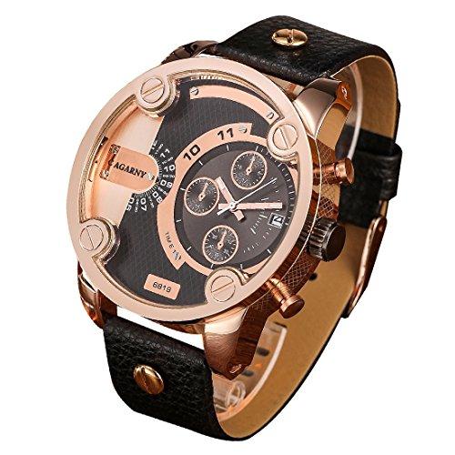 ZHQEUR Modische multifunktionale koreanische Art Dual Time Zone Quarz Business Sport Armbanduhr mit Lederband & GMT Time & Pedometer & Kalender & Leuchtanzeige für Männer Klassische Uhr -