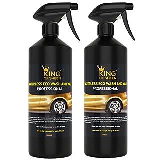 King of Glanz Profi Reiniger für wasserloses Waschen und Wax KFZ-, kein Wasser nur reinigen und Glanz, Auto Reinigung Liquid Spray Auto Waschen, Showroom Glanz Finish. 2x 1l Pack
