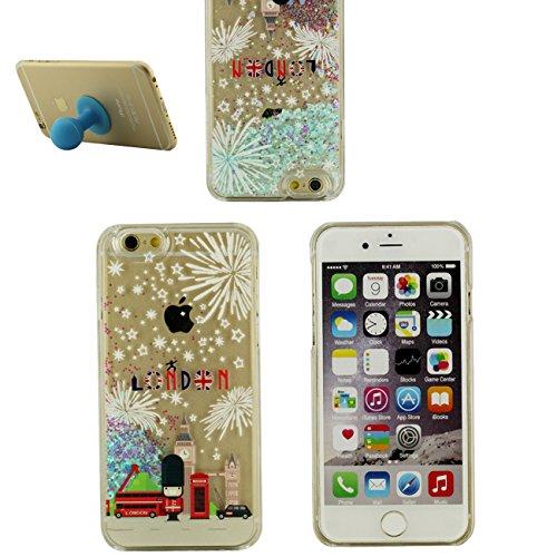 Schutzhülle iPhone 6S Hülle, Australien Muster Flowable Glitzer Herz Flüssigkeit Entwurf Klar Transparent Hardcase Case Cover für Apple iPhone 6 / 6S 4.7 inch + Silikon Halter color-2