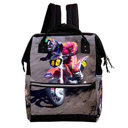 Schmutz Moto Racing Wickelrucksack Wickeltasche große Kapazität der Mehrfachtasche für Mutterschaftsbabywindeländerung Mama Multifunktionsreiserucksack,27x19.8x36.5cm