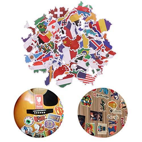 Preisvergleich Produktbild LDA GET Fresh 50X Nationalflaggen Aufkleber,  Karte Aufkleber,  DIY Scrapbooking Koffer Aufkleber für Kinder Spielzeug