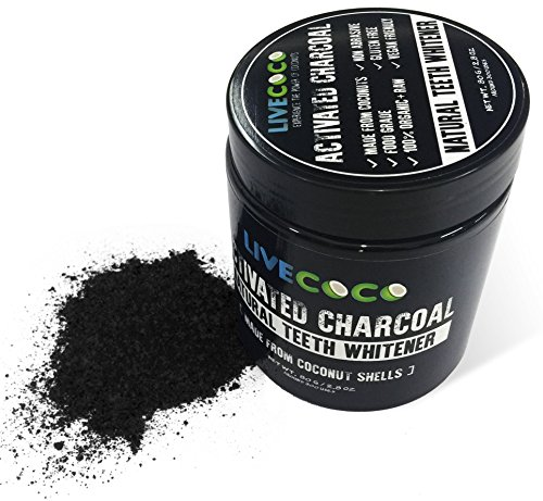 livecoco activated charcoal for teeth whitening, natural teeth whitening using coconut shells, raw & food grade with no artificial flavours, 100% natural, large tub, 80g=300 uses - 51BIOk5CuNL - LiveCoco Activated Charcoal for Teeth Whitening, Natural Teeth Whitening using Coconut Shells, RAW & Food Grade with No Artificial Flavours, 100% Natural, Large Tub, 80g=300 Uses