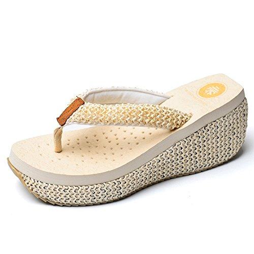Estate Sandali Sandali antiscivolo Pantofole da spiaggia per gli alti talloni per 18-40 anni (Bianco, Nero, Marrone) Colore / formato facoltativo Bianca