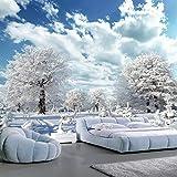 Yirenfeng Benutzerdefinierte Wandbild Forest Big Tree White Deer Winter Schnee Landschaft 3D Fototapete Für Wohnzimmer Schlafzimmer Hintergrund Wandmalerei250X160CM