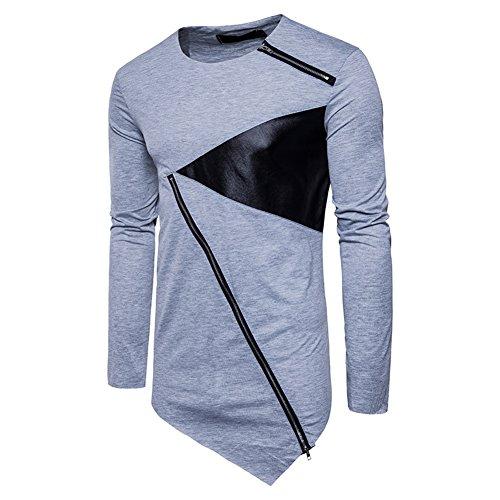Juleya Shirt Herren Basic Casual Tshirt Männer Kurzarm Longshirt Asymmetrische Patchwork Oberteile Blusen Einfarbig Tops Hemden Mit Reißverschluss Dekoration 4 Farben ()