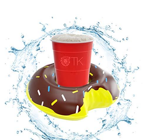 TK Gruppe Timo Klingler 1x Getränkehalter aufblasbar Luftmatratze Schwimmring Schwimmreif für Pool, Wasser, Cocktailhalter, Bierhalter, Becher, Dosenhalter, Becherhalter Bier (1x Donut)