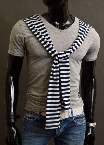 Neu Herren T-Shirt Dekorative Streifen Muster klassischen Schnitt Partei Lässig Grau