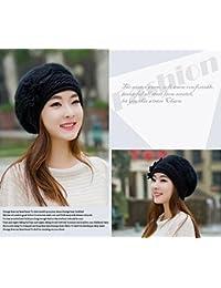 Flor de invierno mujer tejer Crochet Slouch holgados Beanie Hat Crochet Tapa de esquí de Baqueira Beret negro