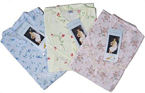 Batist Nachthemden Streublümchen zum Durchknöpfen Langarm Grössen 36/38 bis 60/62 lieferbar 2 Stück in Wunschgröße in 2 verschiedenen Farben