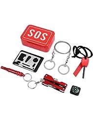 niceEshop(TM) Kits de Supervivencia Emergencia SOS Survival Tools Paquete para Camping Excursionismo Caza Bicicleta Escalada Viajar y Emergencia (Rojo)