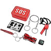 niceEshop(TM Kits de Supervivencia Emergencia SOS Survival Tools Paquete para Camping Excursionismo Caza Bicicleta Escalada Viajar y Emergencia (Rojo)