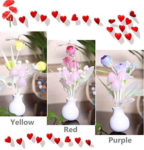 Bluelover Tulipano giallo LED Dimming notte luce 7 colori cambiando artificiale Tulip luce controllo Home Wall Decor