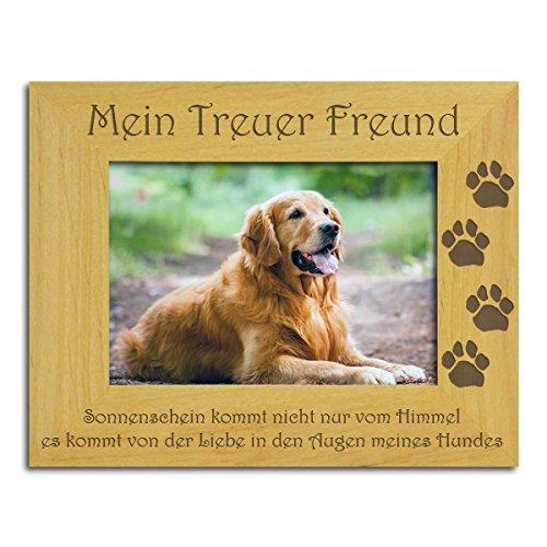 """Hunde Bilderrahmen. Schönes, massives Holz, """"Mein treuer Freund"""" Der perfekte Rahmen um ein besonderes Foto eines geliebten Tieres zu zeigen, My Faithful Friend, (Geliebte Tiere)"""