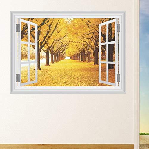 JXNY 3D dreidimensionalen gelben Ahorn Korridor Landschaft Wohnzimmer TV Hintergrund Wanddekoration Wandbild Wandaufkleber 50X70CM
