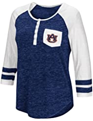 """Auburn Tigers NCAA Women's """"Inconceivable"""" 3/4 Sleeve Henley Shirt Chemise"""