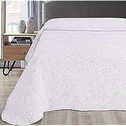 Colcha Cubrecama SABRI de Jacquard Cashmere en Color Blanco, Gris o Beige (Todas las medidas). (Blanco, 250x260 (cama 150/160))