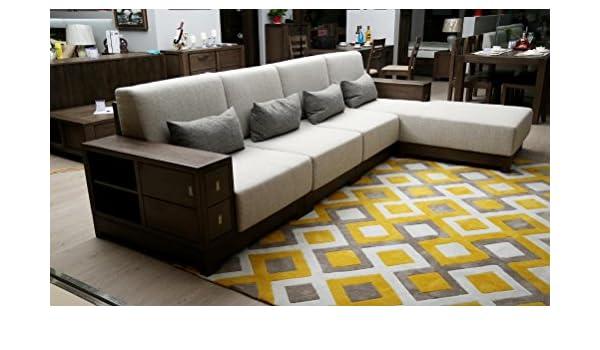 Massiv Holz Sektionaltor Sofa Mit Schaumstoff Kissen Ecke Kombination Couch Wohnzimmer Amazonde Kche Haushalt