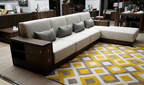 Legno massiccio sezione divano con foam-rubber Cuscino Angolo combinazione divano