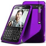 ONX3® ( Purple ) Blackberry Q20 Classic Hülle Abdeckung Cover Case schutzhülle Tasche Custom Made S zeichnen Wellen-Gel-Kasten-Haut-Abdeckung mit LCD-Display Schutzfolie, Poliertuch und Mini-versenkbaren Stift