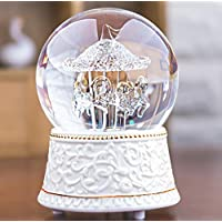 Preisvergleich für Baby-lustiges Spielzeug Romantische Kristallkugel Rotierenden Pferd Figur Spieluhr für Geburtstag Weihnachten Kinder Geschenke Spielzeug