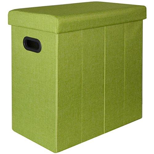 Dunedesign cesto della biancheria sporca bucato 70l portabiancheria pieghevole con coperchio pouf per sedersi rettangolare verde