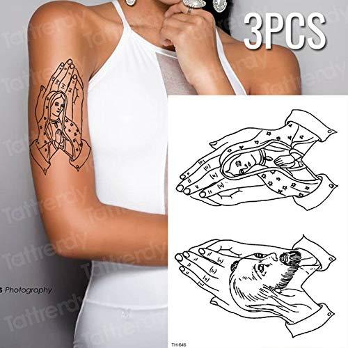 tzxdbh 3 Teile/los Tattoo Aufkleber Wasserdicht Frieden Tattoo Sleeve Wassertransfer Tattoo Gothic Skizze Tattoo Muster 3 Stücke- -