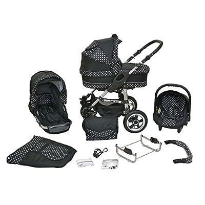 Kombi Kinderwagen Premium 3 in 1 - Kombikinderwagen Buggy schwarz-weiße Punkte