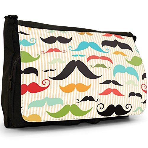 Trendy con baffi Hipster, motivo: baffi, colore: nero, Borsa Messenger-Borsa a tracolla in tela, borsa per Laptop, scuola Nero (Vintage Collection Facial Hair)