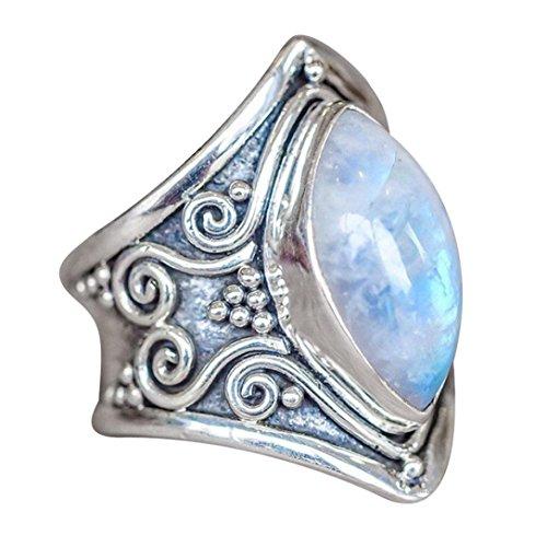 KEERADS Ring, 925 Silver Fashion Moonstone Transparent Diamond Crystal Rings Fashion Woman Jewelry (R 1/2, Sliver)