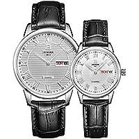 BINGER paio orologio al quarzo, quadrante argento con texture e cinturino in pelle per uomo donna & # xFF08; Argento & # xFF09;