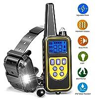 Jiewo 800 Mètre Collier de Dressage pour Chien, Collier imperméable à l'eau de Chien d'entraînement à Distance avec la lumière de LED, Vibration, Bruit, tonalité, réglable Collier Luminescent