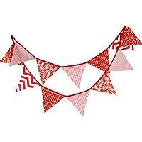 G2Plus - Bandierine triangolari in tessuto, colorate, 3,05 metri, a due facce, stile vintage / (Bunting Modello)