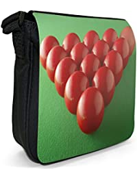 Red Snooker Balls Ready To Break Small Black Canvas Shoulder Bag / Handbag