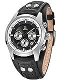 Alienwork Armbanduhr Herren Damen Uhr Leder Armband Lederarmband Lederband schwarz Quarz Herrenuhr Damenuhr Kalender Silber