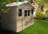 TIMBELA M332 ABRI de Jardin en Bois Exterieur - Chalet en Pin/épicéa- 400x200 cm/8 m²